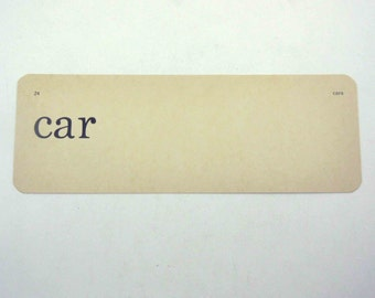 Vintage 1950s Children's Ivory School Flash Card with Word for Car by Scott, Foresman and Co.