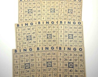 Vintage Blue and Ivory or Tan Bingo Cards Set of 9