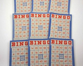 Vintage Red Ivory and Blue Patriotic Bingo Cards Set of 9