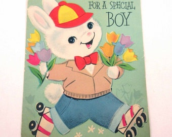 Vintage Easter Greeting Card with Cute Boy Rabbit Roller Skates Skating Tulips