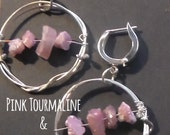 Organic Sterling hoops with Pink Tourmaline