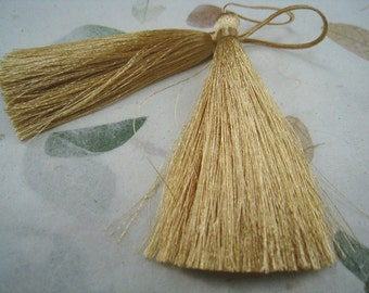 4 Pieces of Long Silk Tassel  -  Gold