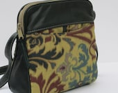 RESERVED FOR Mary Ellen  Fabric and Leather Shoulder Bag Linen and Leather