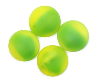 Vintage Cabochons Glass Matte Yellow and Green Round Flat Back 15mm (4) VGC465