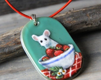 Sweet Little mouse and strawberrys  Necklace, fused glass pendant,  jewelry,summer, picnic time