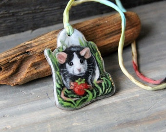 Sweet Little rat in the garden Necklace, fused glass pendant,  jewelry, mouse,rat