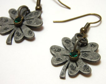 Four Leaf Clover Earrings - Antiqued silver rustic layered clover charms with green rhinestone accent - Lucky Earrings
