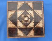 Keepsake or Trinket Box - Quilt Square Design - Woodburned, Pyrography
