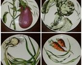 "Vintage Salad Plates Franci Villa ""Vegetable Plates"" Radish, Chives, Eggplant, Carrots, Artichoke, AMM Porcelain Salad Plates"