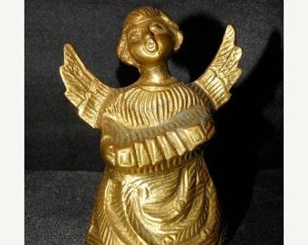 Sale Vintage Angel Brass Bell Christmas Decoration, Christmas Angel, Gold Brass, Choir Angel, Angel wings