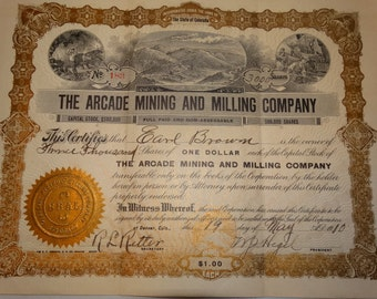 1910 The Arcade Mining and Milling Co. Stock Certificate, 3000 Shares, #183 Denver Colorado Mine Precious Metals Old West Western Americana