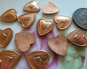Vintage Die Cast Copper Coated Brass Hearts, Unplated Jewelry Findings, 13x12mm, 15 pcs. (C3)