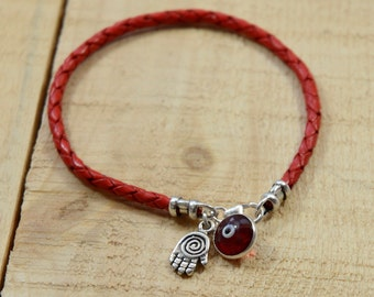 Braided Bracelet with Hamsa and Evil Eye Charms