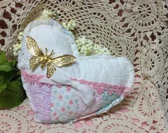 Vintage Quilt  Heart Shaped Pillow- Hand Stitched - Sachet Cutter Quilt Heart, Quilted Heart, Quilted Heart Pillow. Old Quilt, Farmhoue