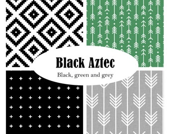 Custom Crib Bedding-3 piece-Black Aztec-Black, Green, Grey, modern crib bedding
