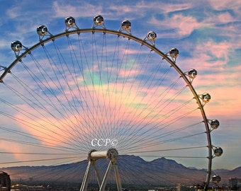 Desert Sunset, Las Vegas, Ferris Wheel Photography, Rainbow Sky, Fine Art Print, Wall Decor Western Decor Desert And Mountains Evening Print