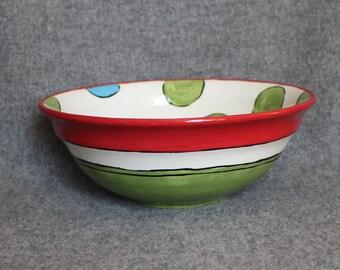 Large Mixing Bowl, Holiday, Polka Dots, Stripes, Christmas, Salad bowl, Serving bowl