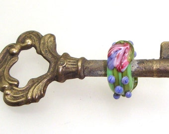 Handmade Lampwork Glass Bead - High Point! Beaded skeleton key. Raised fuchsia pink flowers, grape clusters & green vines.