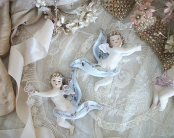 dreamy pair of porcelain cherubs, vintage 1955, signed lefton pieces, soft cottage chic colors, matched pair, tiny pink roses, wall hanging