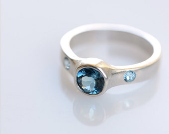 London Blue Topaz Ring 3 Stone - Size 7 Ready To Ship