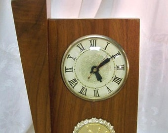 Bowling Trophy Clock Mid Century Wood Gold Tone Bowler Strike Medallion