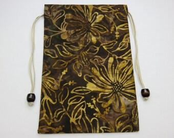"""Batik, Silk Lined Handmade Tarot Card Pouch, Tarot Card Bag 5"""" x 7.5"""""""