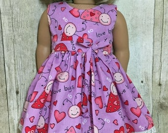 SALE 18 Inch Doll Clothes  Love Bugs and Hearts Dress fits American Girl