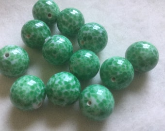 Vintage Glass Beads (2)(12mm) Beautiful Green Speckled Czech Beads