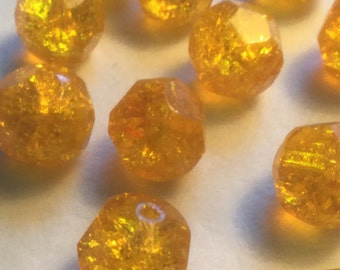 Vintage Glass Beads (2)(12mm) Stunning German Sunny Yellow Faceted Crackle Beads