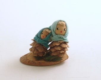 Vintage Christmas Decoration Pine Cone Girls Austria