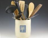Utensil Holder, Kitchen Crock, Pottery Utensil Holder, Home Decor, Kitchen Storage, Housewares Gift, Spoon Holder, Kitchen Gift, Tool Holder