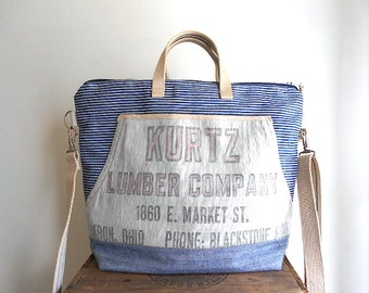 Striped denim, lumber apron carryall tote bag, satchel - Kurtz Lumber Akron Ohio - eco vintage fabrics