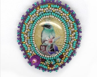 Turquoise violet bird brooch, romantic, magical bead embroidery
