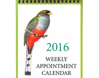 2016 Weekly Calendar--Original Bird Art