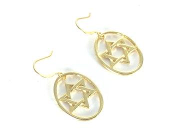 Star of David Earrings, Gold Star of David Earrings, Gold Earrings, Star of David Jewelry
