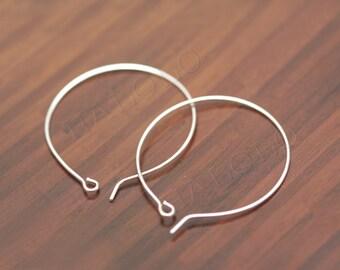 20pcs handmade silver finish kidney round earwire ear hook 20mm (0284)