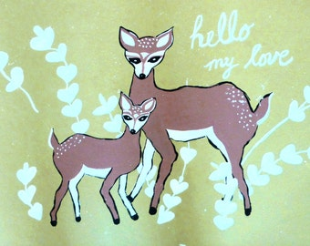 floor mat spring SALE deer floorcloth mat, khaki green white hearts hello my love animals deer mom and baby