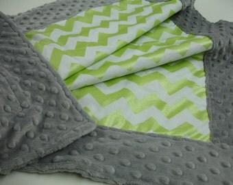 Metallic Lime Chevron Minky Blanket MADE TO ORDER No Batting