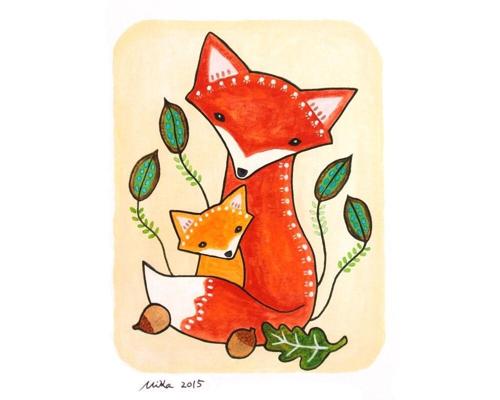 fox print fox nursery decor fox illustration print woodland