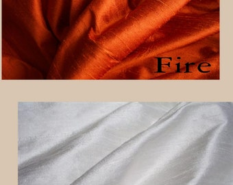 Fire Red/Orange Silk Dupioni Drape (Solid or Stripe)  with Lining