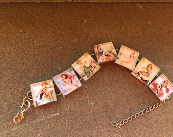 Vargas and elvgren pin up girls link charm bracelet FREE USA shipping