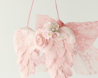 Pink Angel Wings Christmas Ornament. shabby chic glitter lace rose memorial baby loss child loss