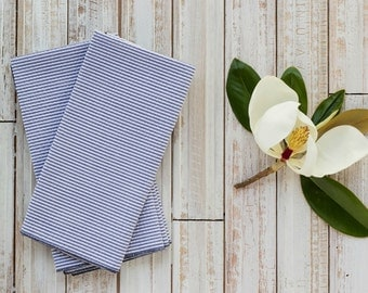 Navy Blue Seersucker Cloth Napkins, set of four by Dot and Army