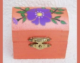 Ring Box Box, Earring Box, Engagement ring box, Ring keepsake box, Trinket Box, Unique Gift, Hand painted, Jewelry Box, Wedding Ring Box