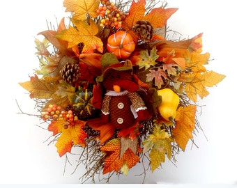 Thanksgiving wreath, front door wreath, door hanger, fall wall decor, Thanksgiving decoration, fall decorations, small wreath