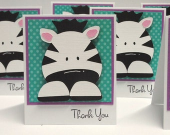 Zebra Thank you note cards set of 6
