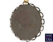 1 Loop Silver Plated Filigree Border Setting Pendant 18mm (12) stn002F