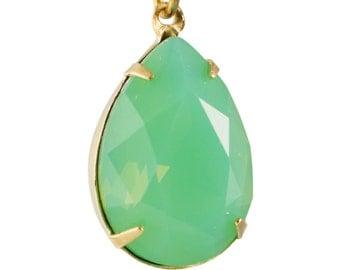 Green Opal Glass Teardrop Stones 1 Loop Brass Setting 18x13mm (2) par004AC