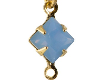 Blue Opal Faceted Square Glass Stones in 2 Loop Gold Setting 6mm squ006MM2