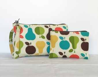 SALE - set of 2 - Square Wristlet  Zipper Pouch & Little Zipper Pouch - Apple and Pear